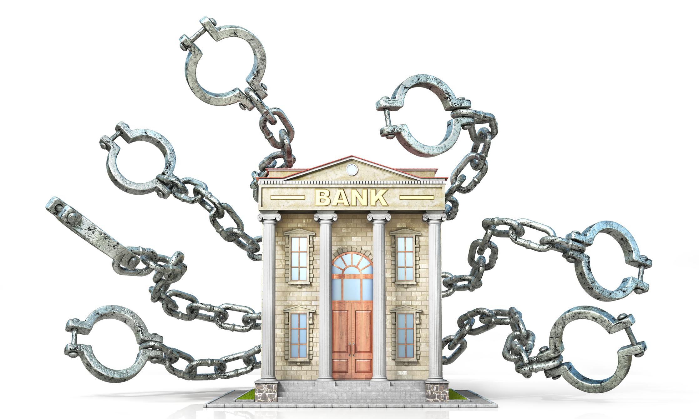 Banque avec des entraves