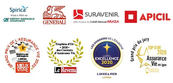 Logos assureurs- recompenses LINXEA